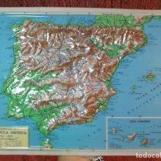 Mapas contemporáneos: MAPA ESCOLAR COLEGIO PENINSULA IBERICA LÁMINA DE PLÁSTICO EN RELIEVE. ED. RICO FIRENZE. AÑOS 60.. Lote 137351026