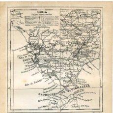 Mapas contemporáneos: CÁDIZ, MAPA ENCARTADO EN ANUARIO COMERCIAL BAILLY BAILLIERE 1904, PAPEL CARTULINA. Lote 137589638