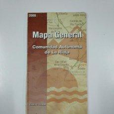 Mapas contemporáneos: MAPA GENERAL DE LA RIOJA. ESCALA 1:150.000. COMUNIDAD AUTONOMA. AÑO 2008. TDKP11. Lote 140296874
