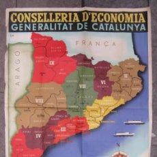 Mapas contemporáneos: CARTEL MAPA REGIONS I COMARQUES DE CATALUNYA, 1936, GENERALITAT DE CATALUNYA. 122X88CM. Lote 141190550
