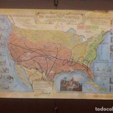 Mapas contemporáneos: THE SPANISH HERITAGE AND CONTRIBUTION TO THE AMERICAN INDEPENDENCE , 95 X 58 CM. Lote 141668638
