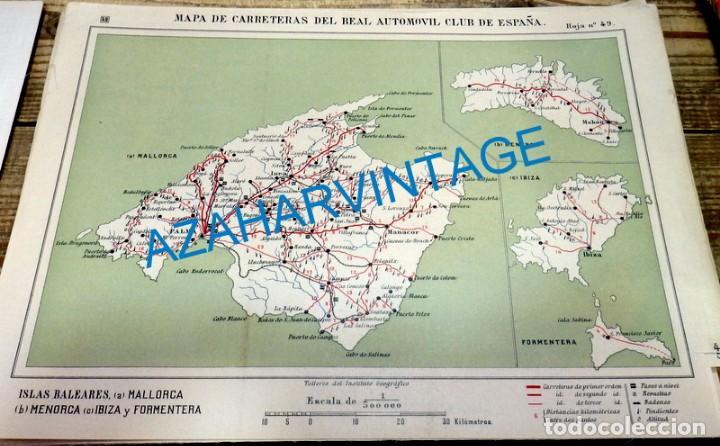 MAPA DE CARRETERAS ENTELADO ( REAL AUTOMOVIL CLUB DE ESPAÑA ) MALLORCA,MENORCA,IBIZA Y FORMENTERA (Coleccionismo - Mapas - Mapas actuales (desde siglo XIX))