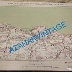 Mapas contemporáneos: MAPA DE CARRETERAS ENTELADO ( REAL AUTOMOVIL CLUB DE ESPAÑA ) SANTANDER, BILBAO, SAN SEBASTIAN ESCA. Lote 142576094