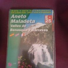 Mapas contemporáneos: MAPA Y GUIA EXCURSIONISTA ANETO MALADETA - VALLES DE BENASQUE Y BARRAVES -EN ESPAÑOL INGLES Y FRANC. Lote 145300550