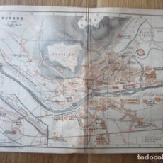 Mapas contemporáneos: 1901- MAPA PLANO ORIGINAL BAEDEKER.CALLES, PLAZAS, DETALLES. BURGOS. Lote 146238650