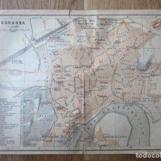 Mapas contemporáneos: 1901- MAPA PLANO ORIGINAL BAEDEKER.CALLES, PLAZAS, DETALLES. CÓRDOBA. Lote 146240238
