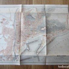 Mapas contemporáneos: 1901- MAPA PLANO ORIGINAL BAEDEKER.CALLES, PLAZAS, DETALLES. MÁLAGA. Lote 146285030