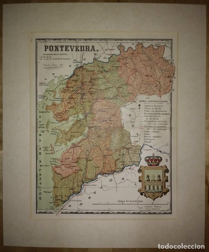 PONTEVEDRA provincia - Mapa antiguo 1910 con Paspartú biselado 43 cm x 36 cm - 116864315
