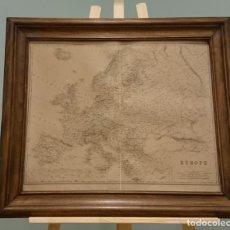 Mapas contemporáneos: MAPA DE EUROPA, ORIGINAL DE PRINCIPIOS DEL SIGLO XX, ENMARCADO, KEITH JOHNSTON DE LA REAL SOCIEDAD D. Lote 147153758