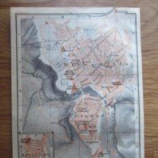Mapas contemporáneos: 1908- MAPA PLANO ORIGINAL BAEDEKER.CALLES, PLAZAS, DETALLES. RONDA. MÁLAGA. Lote 147519542