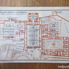 Mapas contemporáneos: 1908- MAPA PLANO ORIGINAL BAEDEKER.CALLES, PLAZAS, DETALLES. ALHAMBRA DE GRANADA. Lote 147521382