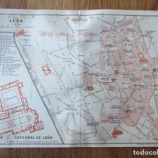 Mapas contemporáneos: 1908- MAPA PLANO ORIGINAL BAEDEKER.CALLES, PLAZAS, DETALLES. LEÓN. Lote 147524958