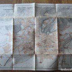 Mapas contemporáneos: 1908- MAPA PLANO ORIGINAL BAEDEKER.CALLES, PLAZAS, DETALLES. GRANADA. GRANDE. Lote 147526526