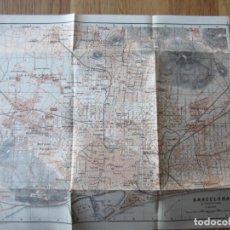 Mapas contemporáneos: 1908- MAPA PLANO ORIGINAL BAEDEKER.CALLES, PLAZAS, DETALLES. BARCELONA. . Lote 147527082