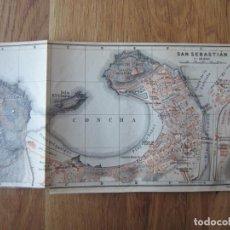 Mapas contemporáneos: 1908- MAPA PLANO ORIGINAL BAEDEKER.CALLES, PLAZAS, DETALLES. SAN SEBASTIÁN. Lote 147527718