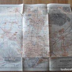 Mapas contemporáneos: 1908- MAPA PLANO ORIGINAL BAEDEKER.CALLES, PLAZAS, DETALLES. BARCELONA. MONTJUICH. Lote 147528386