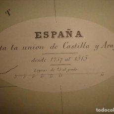Mapas contemporáneos: MAPA HISTÓRICO ESPAÑA HASTA LA UNIÓN DE CASTILLA Y ARAGÓN, BARCELONA, 1878, KOTSH/OSLER,PERFECTO. Lote 147592150