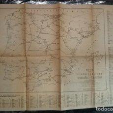 Mapas contemporáneos: ANTIGUO MAPA DE LOS FERROCARRILES DE ESPAÑA Y PORTUGAL EDITADO POR COLEGIO DE HUERFANOS FERROVIARIOS. Lote 198590871