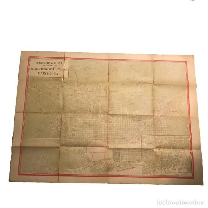 PLANO DE BARCELONA ESPECIAL PARA LOS GRANDES ALMACENES EL SIGLO SA 91X65 CM (Coleccionismo - Mapas - Mapas actuales (desde siglo XIX))