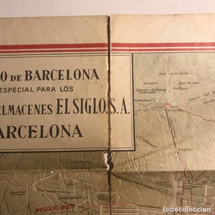 Mapas contemporáneos: Plano de Barcelona especial para los grandes almacenes El siglo SA 91x65 cm - Foto 5 - 149328574