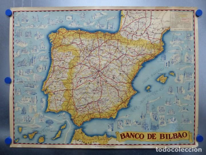 San Sebastian España Mapa.Antiguo Mapa De Espana Banco De Bilbao I G Valverde S A San Sebastian Anos 1950 60