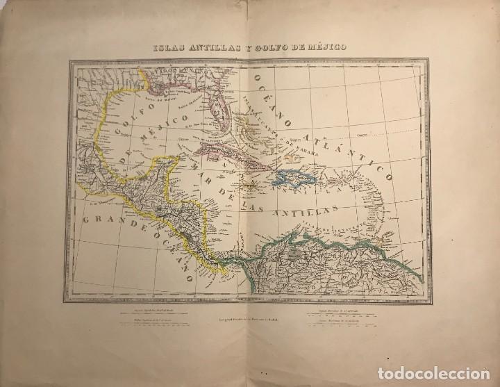 MAPA DE ISLAS ANTILLAS Y GOLFO DE MÉJICO 54X42 CM (Coleccionismo - Mapas - Mapas actuales (desde siglo XIX))