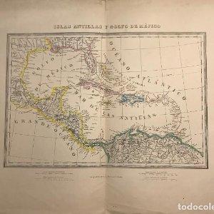 Mapa de Islas Antillas y golfo de Méjico 54x42 cm