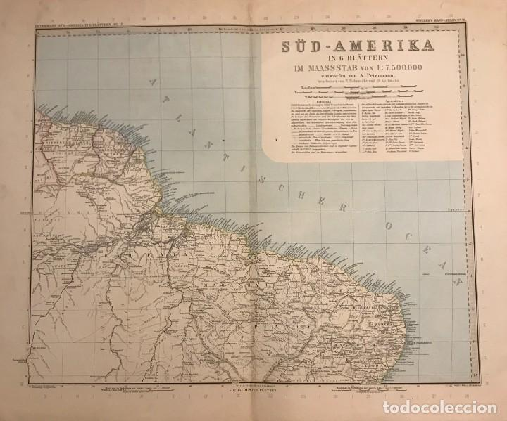 ANTIGUO MAPA DEL NORDESTE DE BRASIL. GUYANAS. GRABADO ALEMAN (Coleccionismo - Mapas - Mapas actuales (desde siglo XIX))