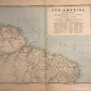 Antiguo Mapa del Nordeste de Brasil. Guyanas. Grabado Aleman