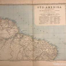 Mapas contemporáneos: ANTIGUO MAPA DEL NORDESTE DE BRASIL. GUYANAS. GRABADO ALEMAN. Lote 151385218