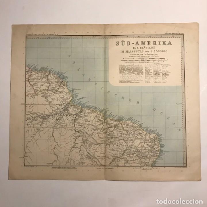Mapas contemporáneos: Antiguo Mapa del Nordeste de Brasil. Guyanas. Grabado Aleman - Foto 2 - 151385218