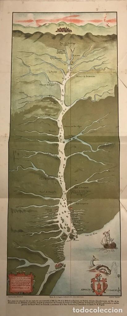 REPRODUCCIÓN DE PLANO TITULADO DESCUBRIMIENTO DEL RÍO AMAZONAS Y SUS DILATADAS PROVINCIAS 59X24,5 CM (Coleccionismo - Mapas - Mapas actuales (desde siglo XIX))