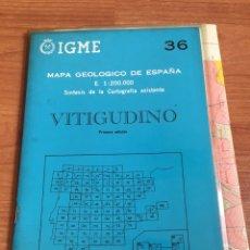 Mapas contemporáneos: IGME MAPA GEOLÓGICO DE ESPAÑA E. 1:200000 VITIGUNDINO N36. Lote 151835137