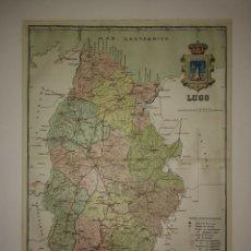 Mapas contemporáneos: LUGO PROVINCIA - MAPA ANTIGUO 1910 CON PASPARTÚ BISELADO 39CM X 31CM. Lote 116861447