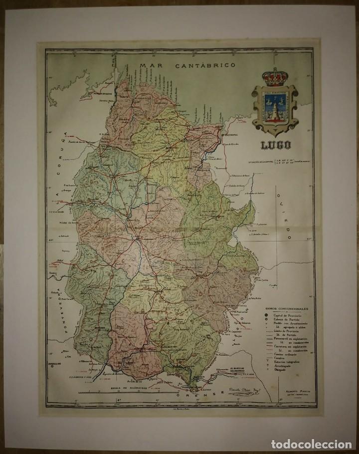 LUGO provincia - Mapa antiguo 1910 con Paspartú biselado 39cm x 31cm - 116861447