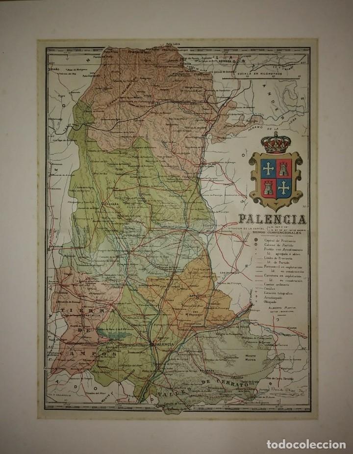 1910 PALENCIA PROVINCIA. MAPA ANTIGUO CON PASPARTÚ BISELADO. CASTILLA Y LEÓN (Coleccionismo - Mapas - Mapas actuales (desde siglo XIX))