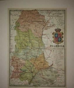 Palencia, mapa antiguo de la provincia