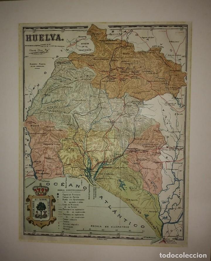 HUELVA PROVINCIA - MAPA ANTIGUO 1910 CON PASPARTÚ BISELADO 40CM X 32,5CM (Coleccionismo - Mapas - Mapas actuales (desde siglo XIX))