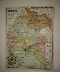 Huelva, mapa antiguo de la provincia
