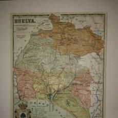 Mapas contemporáneos: HUELVA PROVINCIA - MAPA ANTIGUO 1910 CON PASPARTÚ BISELADO 40CM X 32,5CM. Lote 116862159