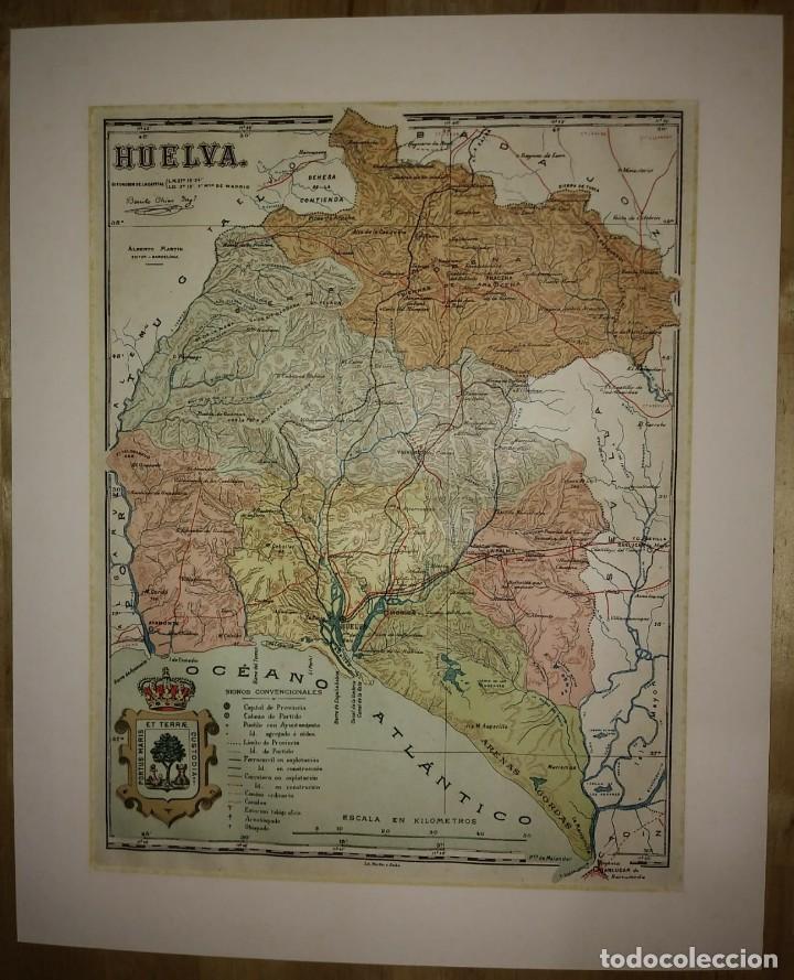 Mapas contemporáneos: HUELVA provincia - Mapa antiguo 1910 con Paspartú biselado 40cm x 32,5cm - Foto 2 - 116862159
