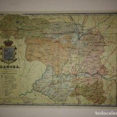 Mapas contemporáneos: ZAMORA PROVINCIA - MAPA ANTIGUO 1910 CON PASPARTÚ BISELADO 38,2CM X 31,5CM. Lote 116862355