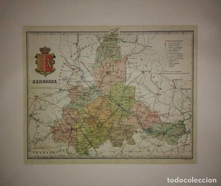 ZARAGOZA PROVINCIA - MAPA ANTIGUO 1910 CON PASPARTÚ BISELADO 42,5CM X 36CM (Coleccionismo - Mapas - Mapas actuales (desde siglo XIX))