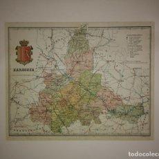 Mapas contemporáneos: ZARAGOZA PROVINCIA - MAPA ANTIGUO 1910 CON PASPARTÚ BISELADO 42,5CM X 36CM. Lote 116862607