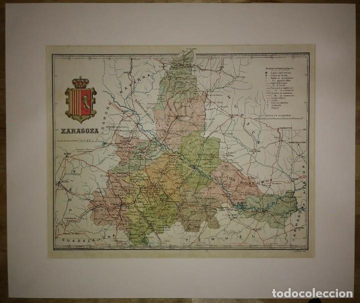 Mapas contemporáneos: ZARAGOZA provincia - Mapa antiguo 1910 con Paspartú biselado 42,5cm x 36cm - Foto 2 - 116862607