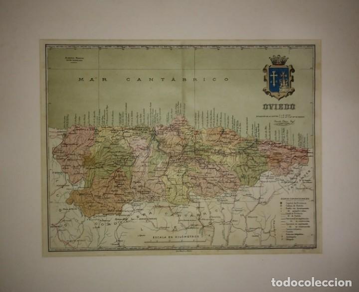 OVIEDO PROVINCIA - MAPA ANTIGUO 1910 CON PASPARTÚ BISELADO 42,5CM X 35CM (Coleccionismo - Mapas - Mapas actuales (desde siglo XIX))