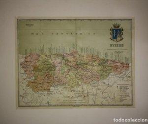 Oviedo, mapa antiguo de la provincia