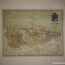 Mapas contemporáneos: OVIEDO PROVINCIA - MAPA ANTIGUO 1910 CON PASPARTÚ BISELADO 42,5CM X 35CM. Lote 116862839