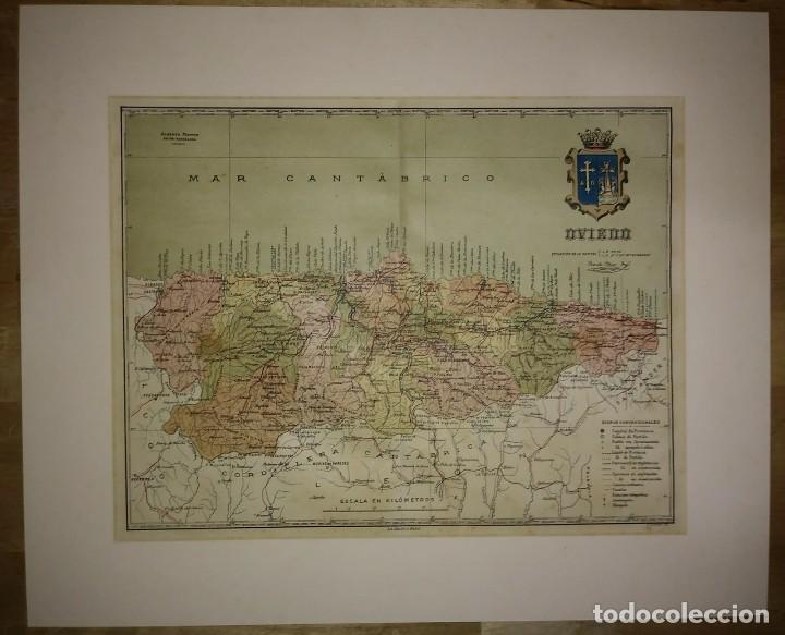 Mapas contemporáneos: OVIEDO provincia - Mapa antiguo 1910 con Paspartú biselado 42,5cm x 35cm - Foto 2 - 116862839