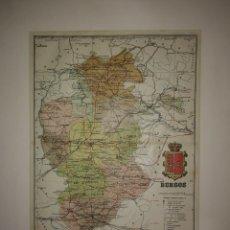 Mapas contemporáneos: BURGOS PROVINCIA - MAPA ANTIGUO 1910 CON PASPARTÚ BISELADO 43CM X 35,4CM. Lote 116863855